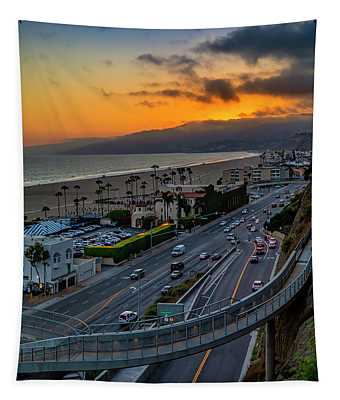 Evening Commuters Crossing Over Pacific Coast Highway - Square Tapestry