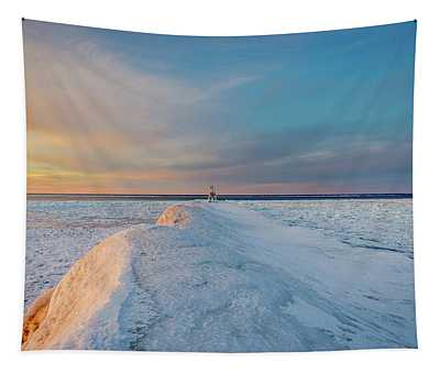 Winter Evening On The Break Wall Tapestry