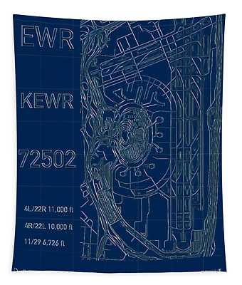 Tapestry featuring the digital art Ewr Newark Liberty Intl Blueprint by Helge
