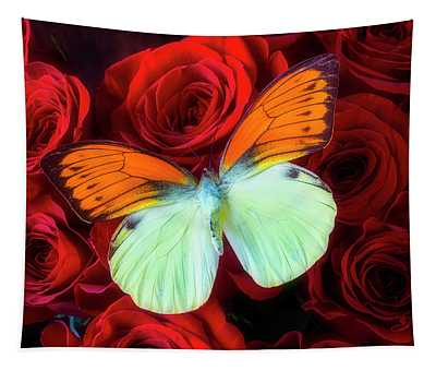 Exotic Butterfly On Red Roses Tapestry