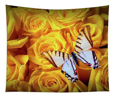 Exotic White Butterfly On Yellow Roses Tapestry