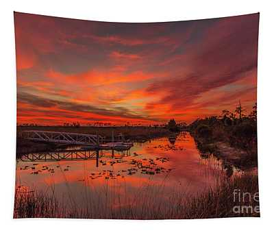 Explosive Sunset At Pine Glades Tapestry