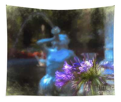 Expressive Flower And Fountain At Forsyth Park Tapestry