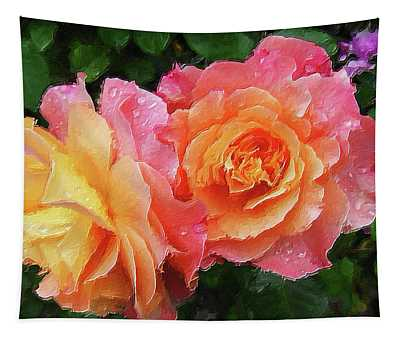 Exquisite Pink Rose Buds Tapestry