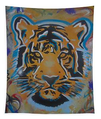 Eye Of The Big Tiger Tapestry