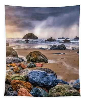 Face Rock Storm Tapestry