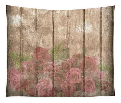 Faded Red Country Roses On Wood Tapestry
