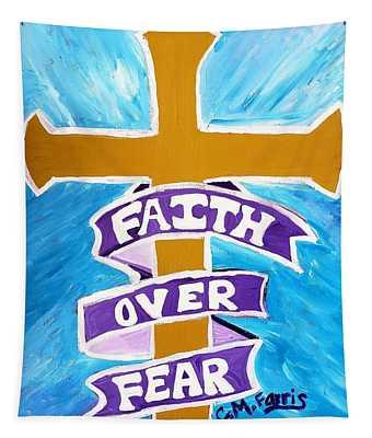 Faith Over Fear Cross  Tapestry