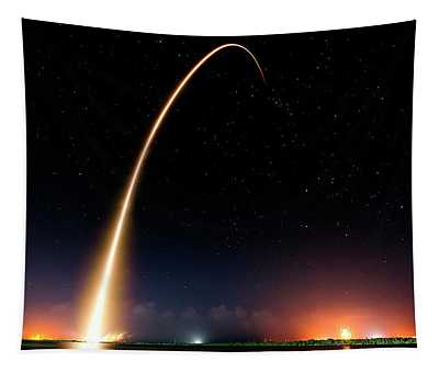 Falcon 9 Rocket Launch Outer Space Image Tapestry