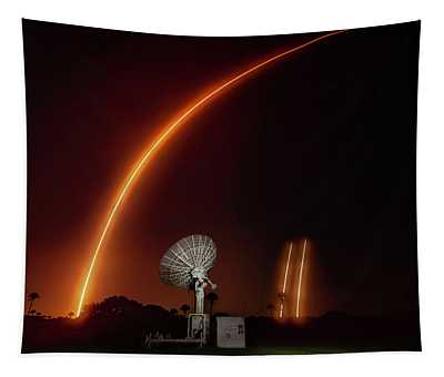 Falcon Heavy Night Launch And Landing Tapestry