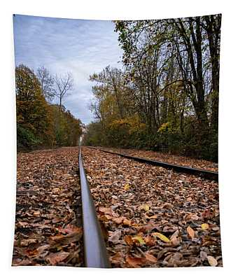 Fall Along The Tracks Tapestry