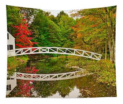 Fall Footbridge Reflection Tapestry