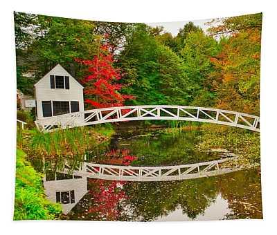 Fall Footbridge Reflection Tapestry