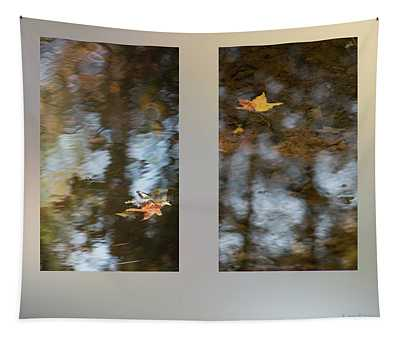 Fall Leaves On A Pond Tapestry