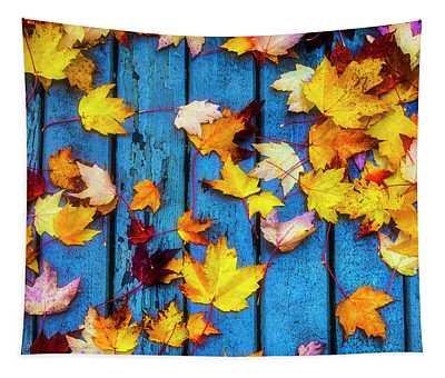 Fall Leaves On Wooden Deck Tapestry