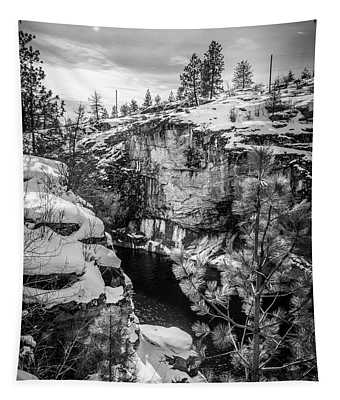 Tapestry featuring the photograph Falls Park Winter - Black And White by Matthew Nelson