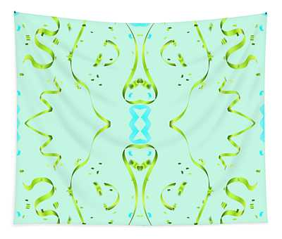 Fancy Aqua Ribbon Design Tapestry