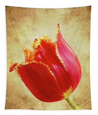 Fancy Red And Yellow Tulip Tapestry
