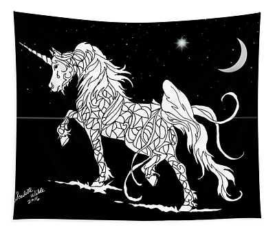 Fantasy Unicorn Crescent Moon Tapestry