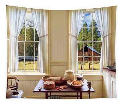 Farmhouse Kitchen View Tapestry