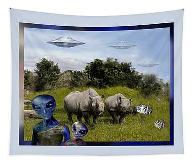 Tapestry featuring the photograph Father And Son On Safari  by Hartmut Jager
