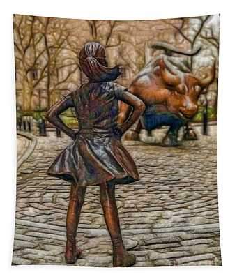 Fearless Girl And Wall Street Bull Statue Tapestry