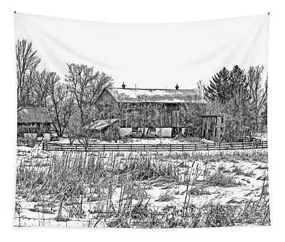 February Farm Bw  Tapestry