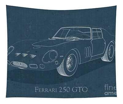 Ferrari 250 Gto - Blueprint Tapestry