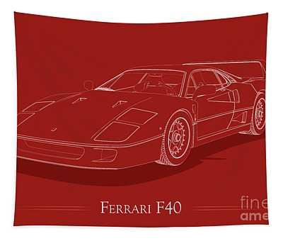 Ferrari F40 - White Blueprint On Red Tapestry