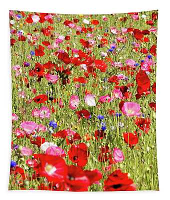 Field Of Red Poppies Tapestry