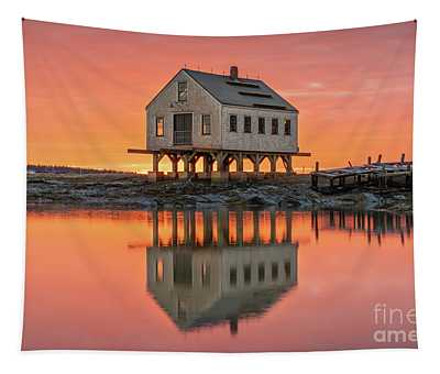 Fiery Skies At Cape Porpoise Tapestry