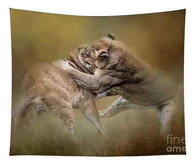 Fighting Lioness Tapestry