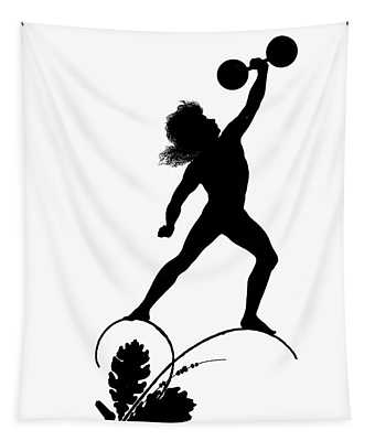 Figure Lifting Dumbbell, Illustration For Gottliche Jugen Ein Tag Aus Dem Sonnenlande Tapestry