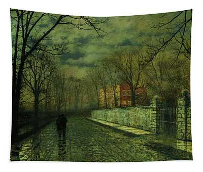 Figures In A Moonlit Lane After Rain Tapestry