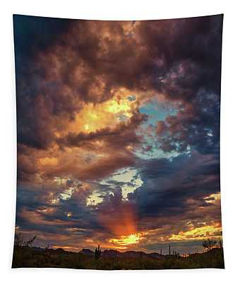 Finger Painted Sunset Tapestry