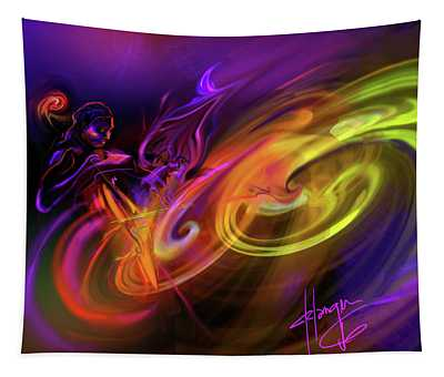 Cellist In Space Tapestry