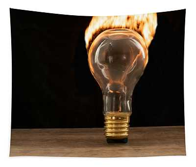 Fire And Flames Ignited Out Of Light Bulb Tapestry