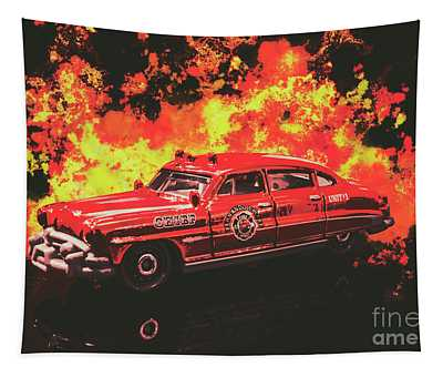 Vintage Fire Truck Photographs Wall Tapestries
