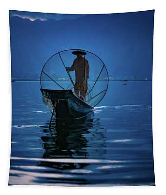 Fisherman At First Light On Inle Lake Tapestry