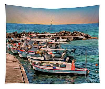 Fishing Boats Corfu Tapestry