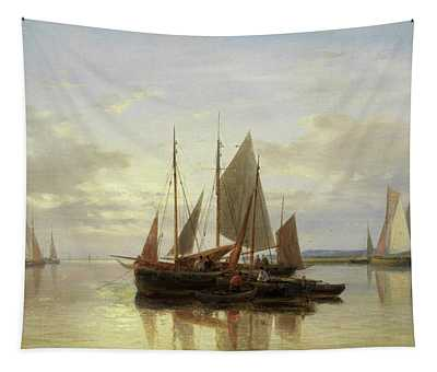 Fishing Boats In Calm Water Tapestry
