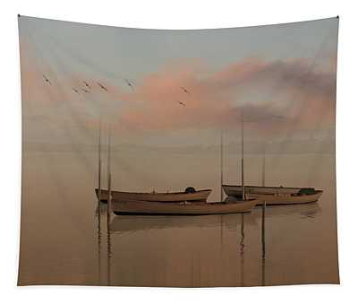 Fishing Boats Resting At Dusk Tapestry
