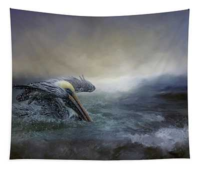 Fishing In The Storm Tapestry