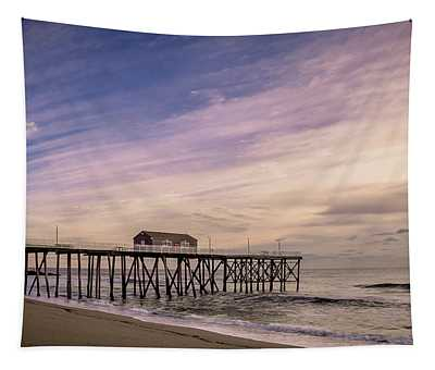 Fishing Pier Sunrise Tapestry