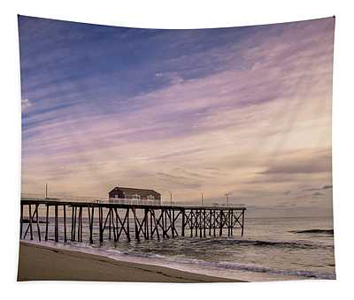 Tapestry featuring the photograph Fishing Pier Sunrise by Steve Stanger