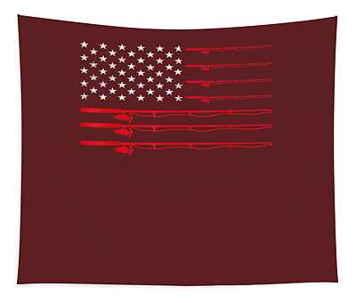 Fishing Rod T Shirt American Usa Flag - Fisherman Gift Idea Tapestry