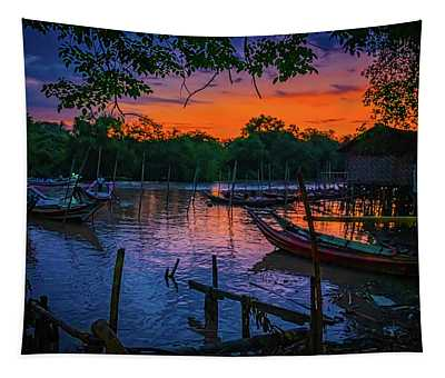 Fishing Village At Sunrise Tapestry