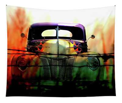 Flamed And Barbed Vintage Car Tapestry