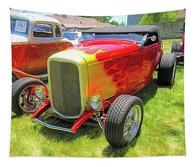 Flamed Red 1932 Ford Roadster Tapestry