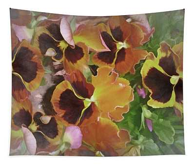 Flaming Pansies 9  Tapestry